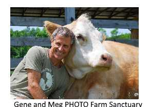 Farm Sanctuary's Gne Baur and friend