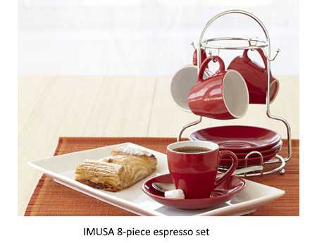 IMUSA 8-piece espresso set as seen in vegetariangazette.com